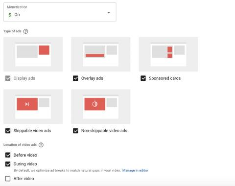 Tipos de anuncios en YouTube.