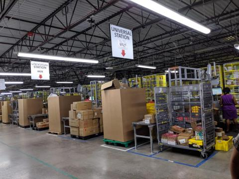 The totes, full of random products, are all filtered into these stations where people unpack them into larger storage containers operated by robots.