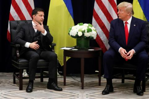 Ukraine's President Volodymyr Zelensky meets US President Donald Trump at the United Nations General Assembly in New York City on September 25, 2019.