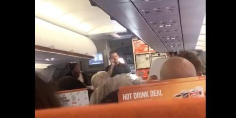 A video posted to Facebook showed the off-duty EasyJet pilot Michael Bradley telling passengers he's going to fly the plane himself.