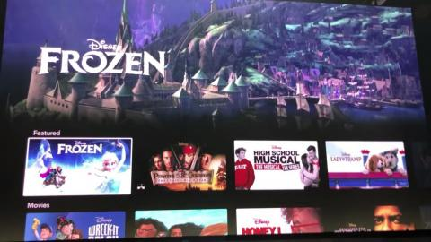 """When you hover over a piece of content, like Disney's """"Frozen,"""" a brief trailer will automatically play at the top of the screen."""