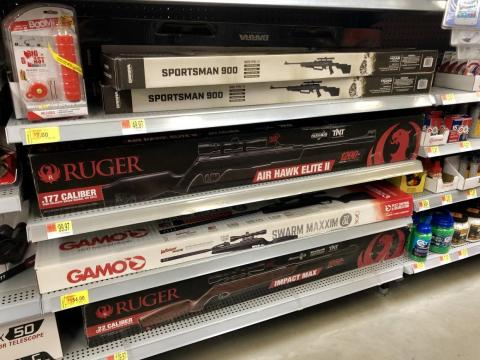 While I waited, I browsed the supply of air guns near the firearm-sales counter.
