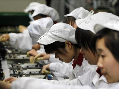Workers in a Foxconn factory in China.