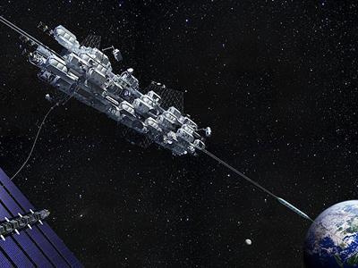 En esta representación de Obayashi, el ascensor transporta a la gente de la Tierra a una Estación de Órbita Terrestre Geoestacionaria a una altura de 36.000 kilómetros.