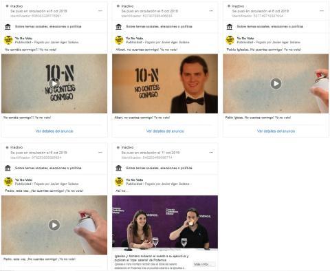 Algunos anuncios de la campaña #Yonovoto.