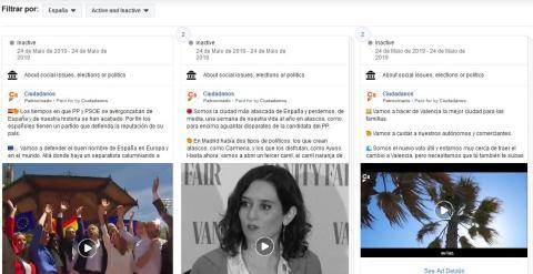 Anuncios de Ciudadanos en la biblioteca de Facebook