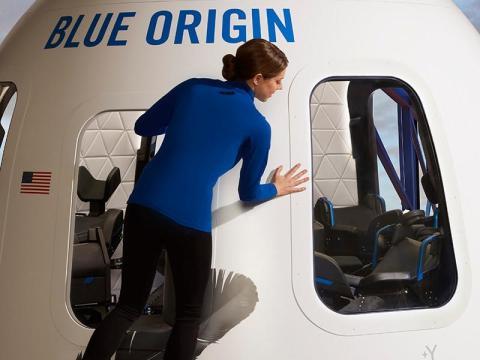 The final design of Blue Origin's New Shepard capsule for suborbital space tourists.