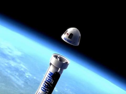 Una ilustración de la nueva cápsula Shepard de Blur Origin que se desprende del cohete.