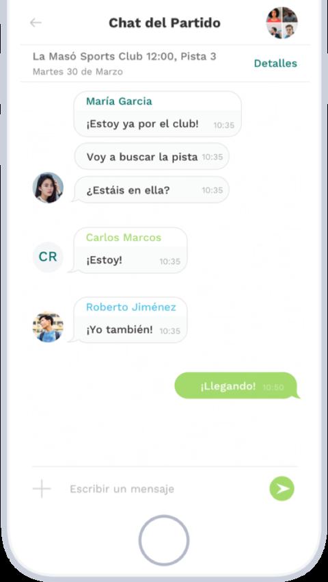 Chat aplicación Playtomic