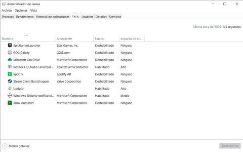 Cómo quitar las aplicaciones que se inician de forma automática en Windows 10 a través delAdministrador de tareas