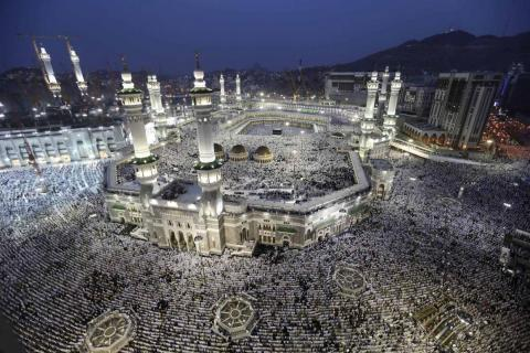 Muslim pilgrims at the Grand Mosque in Mecca.