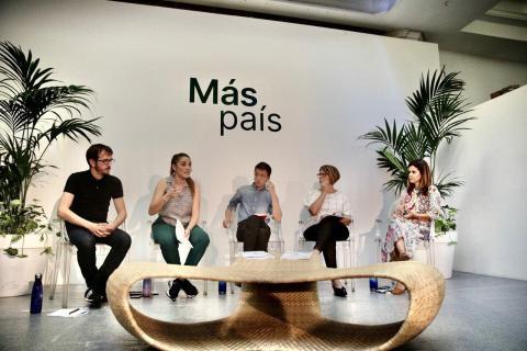 Errejón y varios miembros de la cúpula de Más País en la presentación del adelanto del programa.