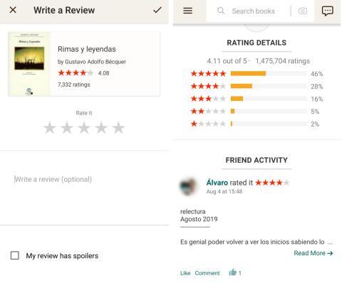 """Puedes interaccionar los demás usuarios comentando sus reseñas o dando """"me gusta""""."""
