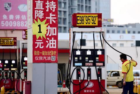 Una estación de servicio de Petrochina en Shenyang, China.