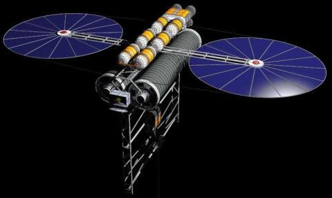 Un contrapeso en el espacio mantendrá la correa de sujeción tensa, como una piedra al final de una cuerda que se hace girar en círculos.