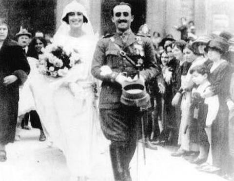 Franco y Carmen Polo, el día de su boda