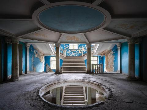 Dentro de uno de los balnearios de la era soviética.