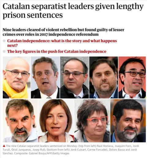 The Guardian se hace eco de la sentencia del procés
