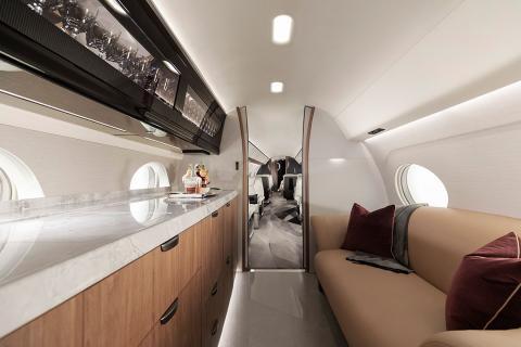 El interior de un Gulfstream G700.