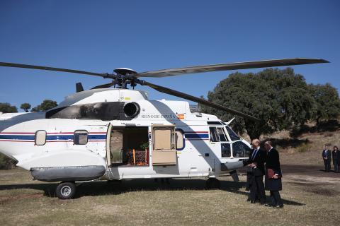 El helicóptero con el féretro de Franco.