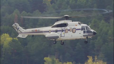 El helicóptero que trasladará el cadáver de Franco a Mingorrubio-El Pardo.