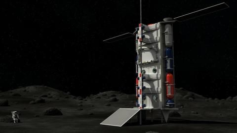 La representación de un artista de un ascensor espacial sobre la superficie lunar.