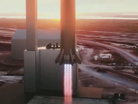 Una ilustración del planeado lanzamiento de un cohete superpesado de SpaceX en una plataforma en Boca Chica, Texas.