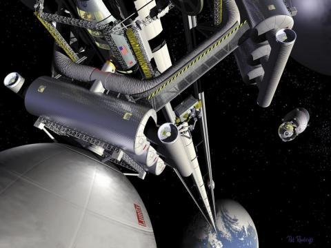 Esta ilustración del artista Pat Rawling muestra el concepto de un ascensor espacial visto desde la estación de trasbordo geoestacionaria mirando a lo largo del ascensor hacia la Tierra.