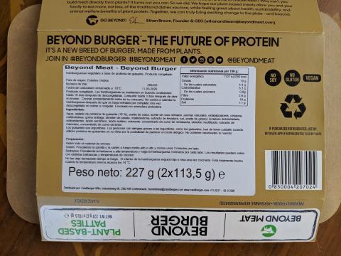 Ingredientes de la hamburguesa Beyond Meat.
