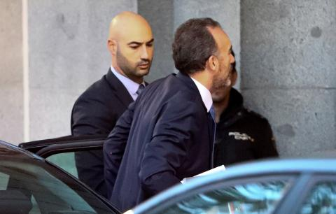 El juez Manuel Marchena a su llegada al Tribunal Supremo antes de firmar la sentencia sobre la causa del procés.