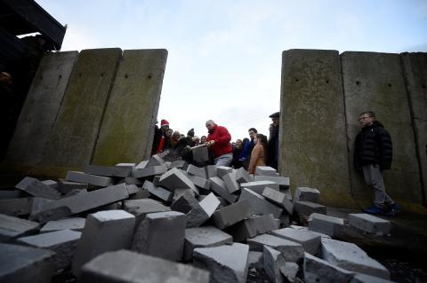 Manifestantes antibrexit en Carrickcarnan, Irlanda.