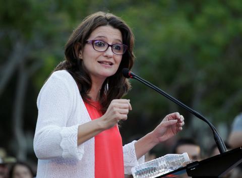 Mónica Oltra, de Compromís, en un acto de campaña en junio de 2016.