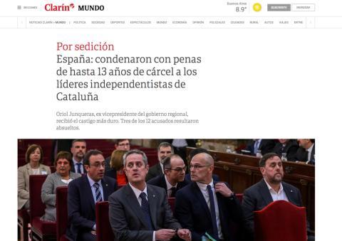 Noticia de Clarín sobre la sentencia del procés