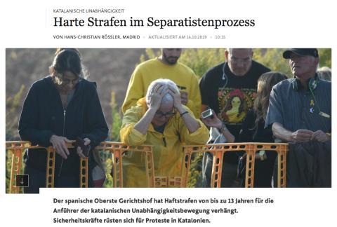 Noticia del Frankfurten Allgemeine sobre la sentencia del procés