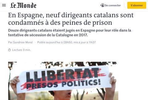 Noticia de Le Monde sobre la sentencia del procés