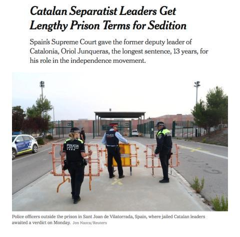Noticia del New York Times sobre la sentencia del procés