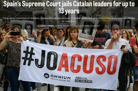 Noticia de Politico sobre la sentencia del procés