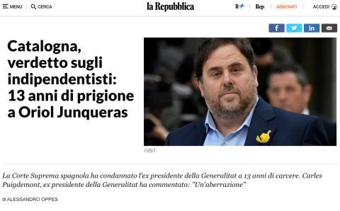 Noticia de La Repubblica sobre la sentencia del procés