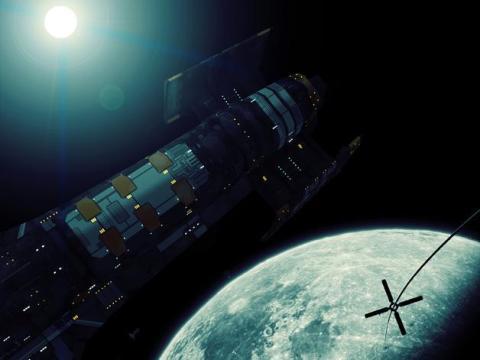 Una representación artística del ascensor lunar de LiftPort.