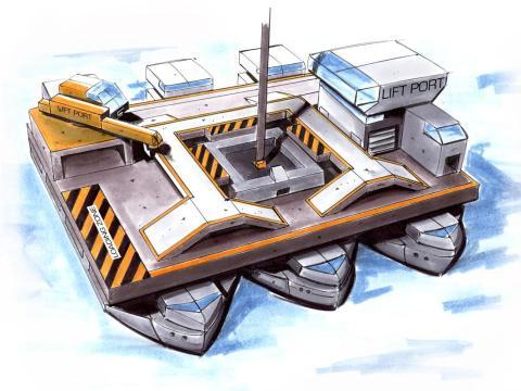 El diseño de Obayashi requiere un barco o algún tipo de plataforma flotante para anclar la correa a la Tierra. Se puede mover gradualmente para controlar la correa y ayudar al transportador a evitar objetos grandes o escombros en el espacio.