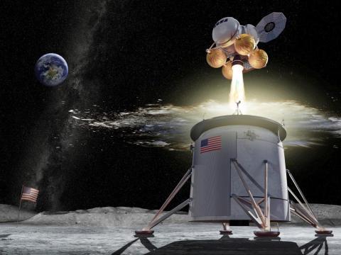 Una representación de la NASA de un diseño propuesto para un vehículo que aterriza en la Luna con el programa Artemis — el vehículo de ascenso se muestra separado del de descenso.