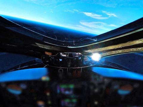 Una cabina de la nave espacial Virgin Galactic.
