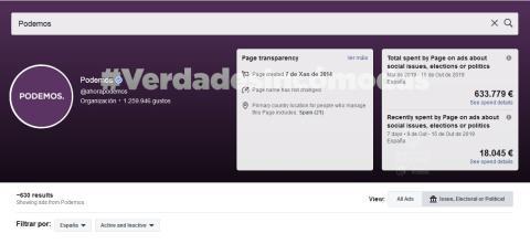Página de entrada de Podemos en la biblioteca de Facebook