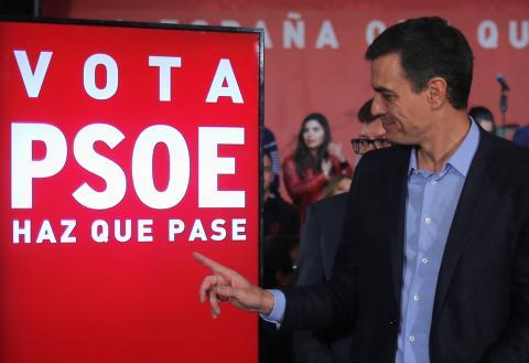 Pedro Sánchez, en campaña.