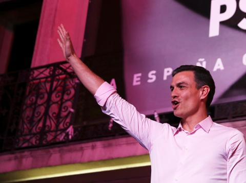 Pedro Sánchez en la noche electoral del 28A.