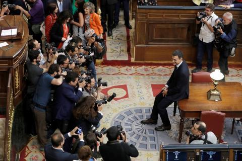 Pedro Sánchez, recién investido presidente del Gobierno en 2018.