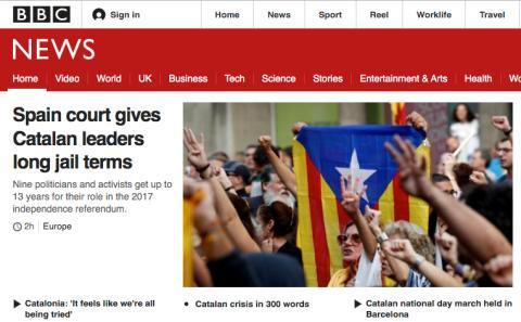 Portada de la BBC sobre la sentencia del procés