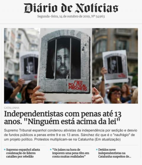 Portada online de Diário De Notícias con la noticia de la sentencia del procés