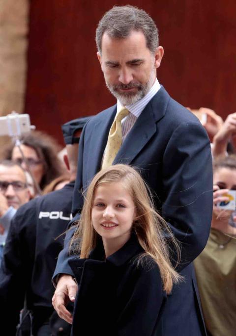 La princesa Leonor asiste a la Misa de Pascua en Palma de Mallorca en 2017.