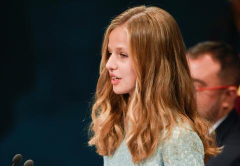 La princesa Leonor, durante su discurso en la entrega de los premios Princesa de Asturias 2019.